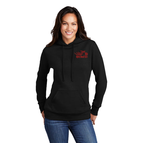 BLACK Open Road Girl Full PULLOVER Hoodie - CHOOSE YOUR LOGO COLOR!