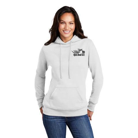WHITE Open Road Girl Full PULLOVER Hoodie - CHOOSE YOUR LOGO COLOR!