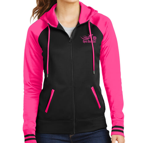 Hot Pink/Black Open Road Girl Full Zip Hoodie