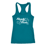 WHITE READY TO RIDE WITH SWIRLS RACERBACK TANK TOP