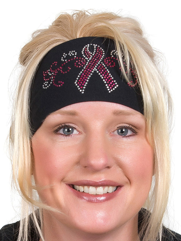 Breast Cancer Pink Ribbon Rhinestone Head Wrap