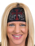Rhinestone CROSS Stretchy Tie-Back Headwrap, 6 Colors
