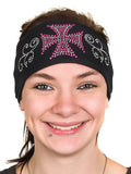 Maltese Biker Cross Rhinestone Head Wrap