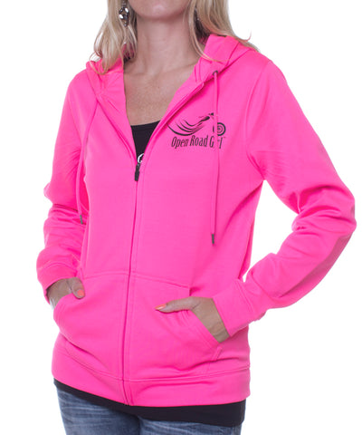 Hot Pink Open Road Girl Full Zip Hoodie