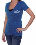 Open Road Girl Women's V-Neck Burnout Tee, 7 Colors
