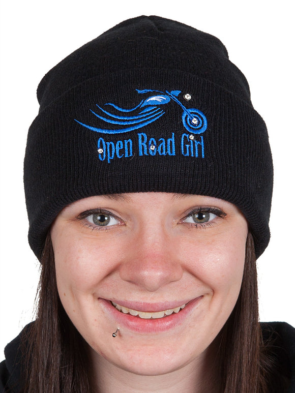 Embroidered Open Road Girl Black Stocking Cap, 7 Colors