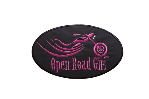 Large Open Road Girl Embroidered Patch with Rhinestones, 2 Colors