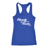 WHITE READY TO RIDE RACERBACK TANK TOP