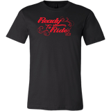 RED READY TO RIDE WITH SWIRLS MEN'S STYLE CREW NECK TEE