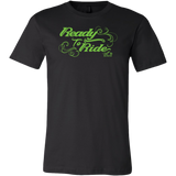 GREEN READY TO RIDE WITH SWIRLS MEN'S STYLE CREW NECK TEE