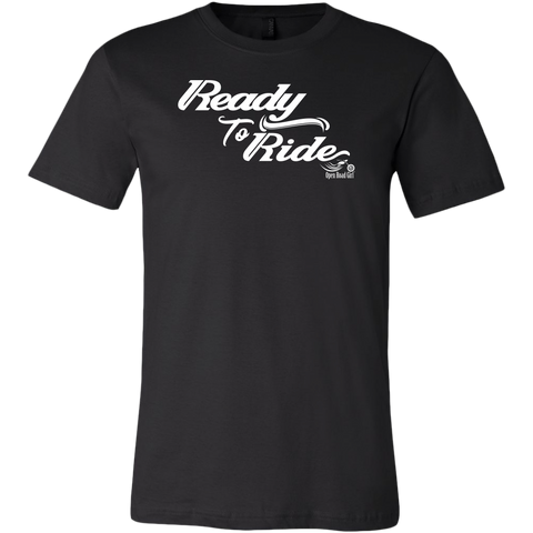 WHITE READY TO RIDE WITH SWIRLS MEN'S STYLE CREW NECK TEE