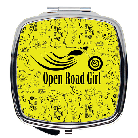 YELLOW Open Road Girl Compact Mirrors, 2 Styles