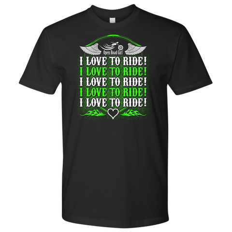 NEON GREEN I Love To Ride UNISEX Short Sleeve T-Shirt- Crewneck