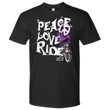 PURPLE Peace Love Ride UNISEX Tee Shirt