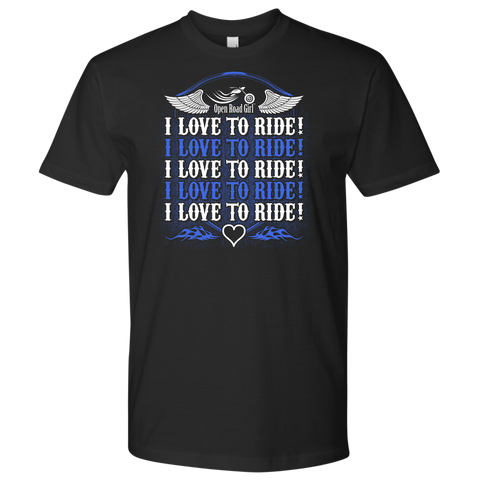 ROYAL BLUE I Love To Ride UNISEX Short Sleeve T-Shirt- Crewneck