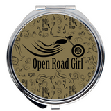 GOLD Open Road Girl Compact Mirrors, 2 Styles