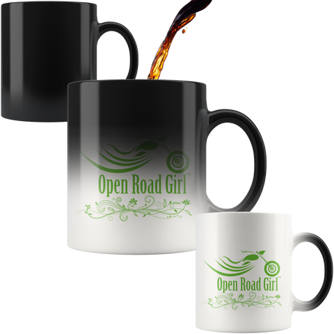 GREEN OPEN ROAD GIRL 11OZ MAGIC MUG, 2 STYLES