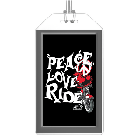 RED Peace Love Ride Luggage Tags, Set of 2