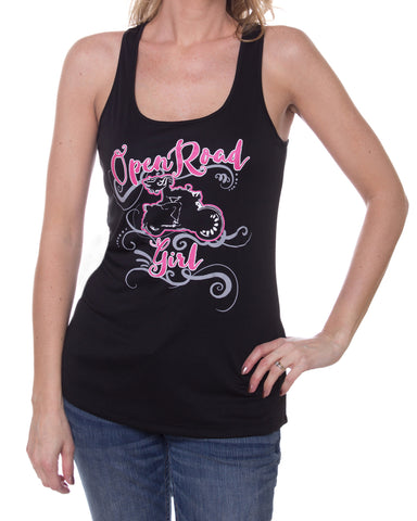 Girl on Motorcycle Open Road Girl Tank Top, 5 Colors