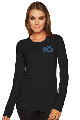 GLITTER Open Road Girl BLACK Thermal Long Sleeve Tee