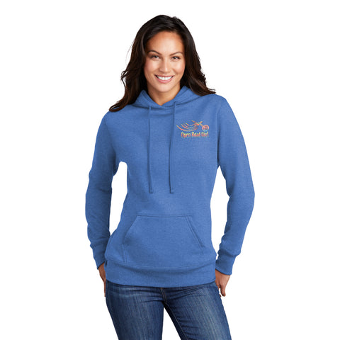 BLUE Open Road Girl Full PULLOVER Hoodie - CHOOSE YOUR LOGO COLOR!