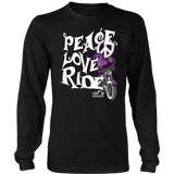 PURPLE PEACE LOVE RIDE UNISEX LONG SLEEVE SHIRT