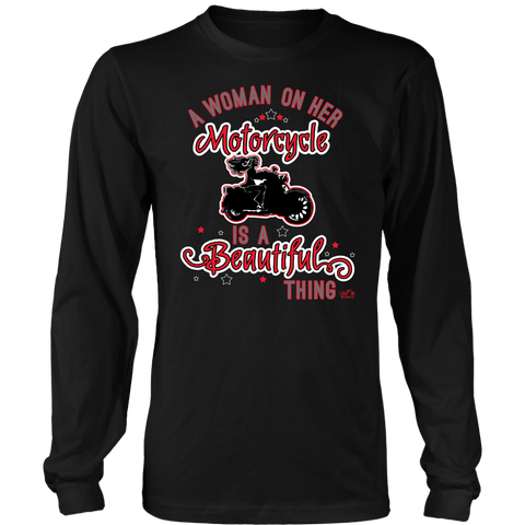 RED A Woman on her Motorcycle is a Beautiful Thing Unisex Long Sleeve Tee