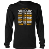 ORANGE I Love To Ride UNISEX Long Sleeve T-Shirt- Crewneck