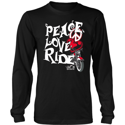 RED PEACE LOVE RIDE UNISEX LONG SLEEVE SHIRT