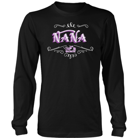 PURPLE Nana UNISEX Long Sleeve T-Shirt- Crewneck