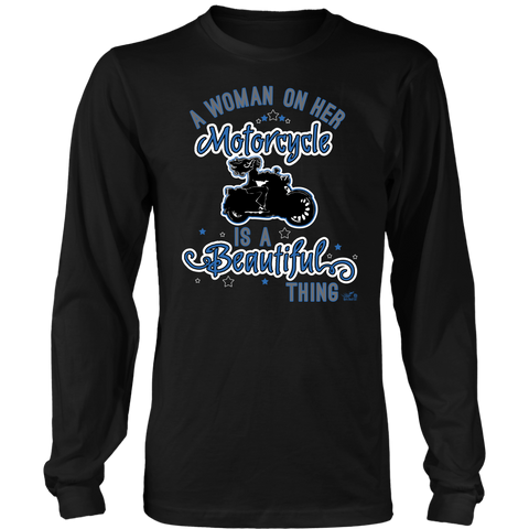 BLUE A Woman on her Motorcycle is a Beautiful Thing UNISEX Long Sleeve Tee