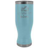 CUSTOM ENGRAVED OPEN ROAD GIRL (20 OUNCES) TRAVEL BOHO MUG, 12 COLORS