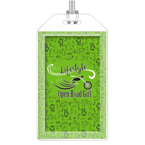 GREEN Open Road Girl Luggage Tags, Set of 2