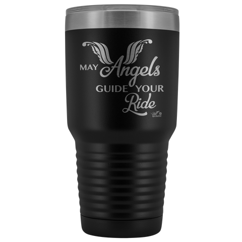 MAY YOUR ANGELS GUIDE YOUR RIDE (30 OUNCES) TRAVEL MUG, 12 COLORS