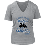 BLUE A Woman on her Motorcycle is a Beautiful Thing Vneck Tee