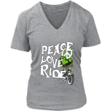 GREEN Peace Love Ride Women's V-Neck Tee