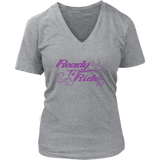 PURPLE READY TO RIDE WITH SWIRLS WOMEN'S VNECK TEE
