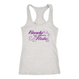 PURPLE READY TO RIDE WITH SWIRLS RACERBACK TANK TOP