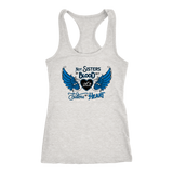 BLUE NOT SISTERS BY BLOOD...OPEN ROAD GIRL RAZORBACK TANK TOP