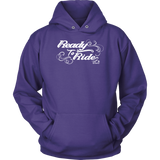 WHITE READY TO RIDE WITH SWIRLS UNISEX PULLOVER HOODIE