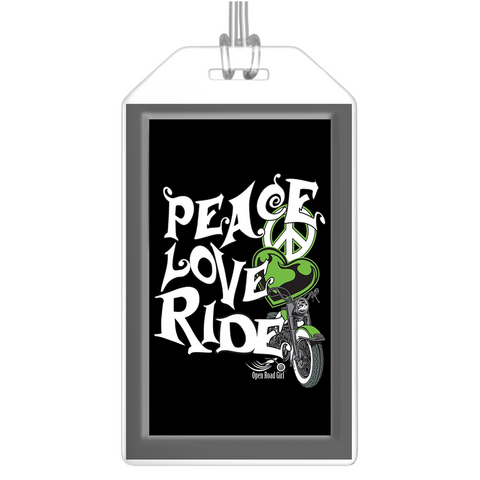 GREEN Peace Love Ride Luggage Tags, Set of 2