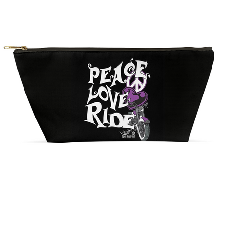 PURPLE Peace, Love, Ride Large Accessory Bags, 2 Sizes