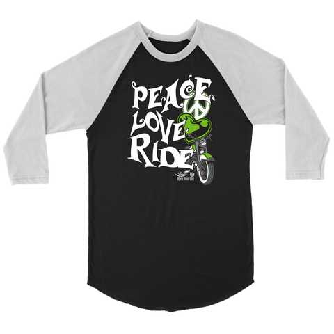 GREEN PEACE LOVE RIDE UNISEX 3/4 RAGLAN SHIRT