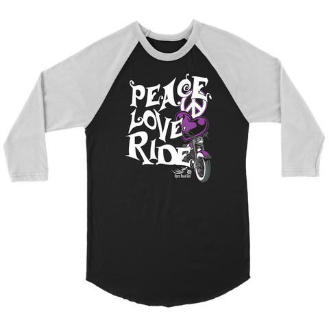 PURPLE PEACE LOVE RIDE UNISEX 3/4 RAGLAN SHIRT