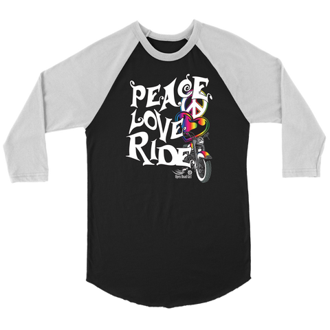 RAINBOW PEACE LOVE RIDE UNISEX 3/4 RAGLAN SHIRT