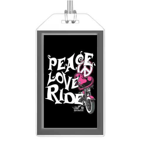 PINK Peace Love Ride Luggage Tags, Set of 2