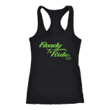 GREEN READY TO RIDE RACERBACK TANK TOP