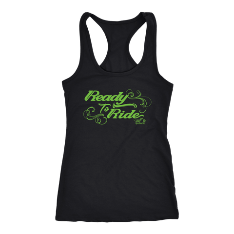 GREEN  READY TO RIDE WITH SWIRLS RACERBACK TANK TOP
