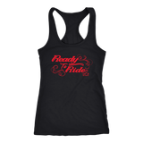 RED READY TO RIDE WITH SWIRLS RACERBACK TANK TOP
