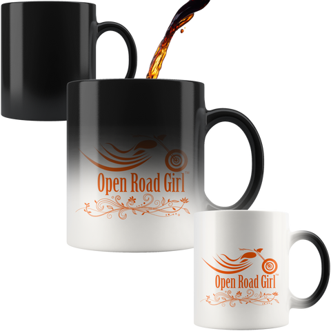 ORANGE OPEN ROAD GIRL 11OZ MAGIC MUG, 2 STYLES